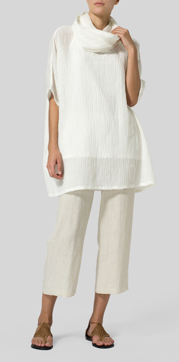 White Linen Cowl Neck Gauze Tunic