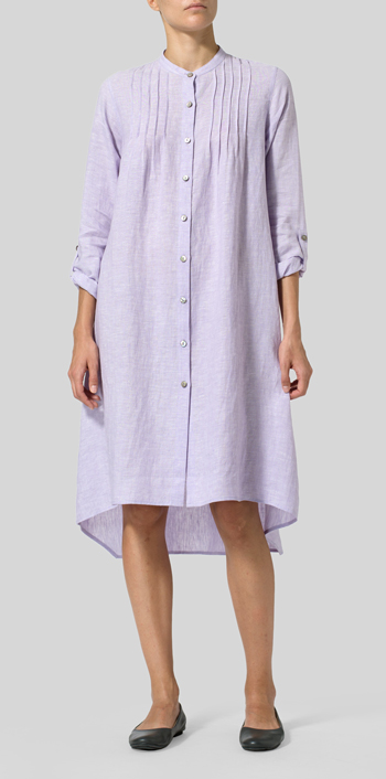 Pastel Mauve Linen Mandarin Collar Shirt Dress