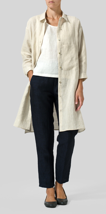 Oat Linen Half-Sleeve Long Shirt