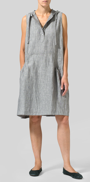 Gray Linen Sleeveless Hoodie Long Tunic
