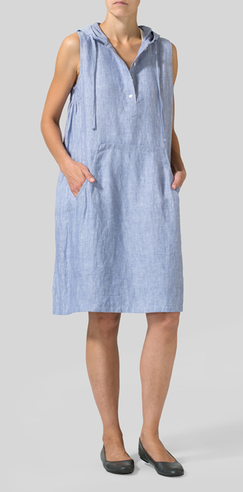 Light Denim Linen Sleeveless Hoodie Long Tunic