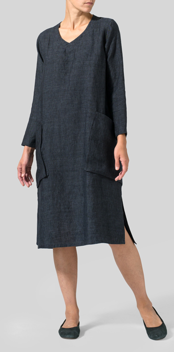 Dark Sapphire Linen Long Sleeve Heart Neck Tunic