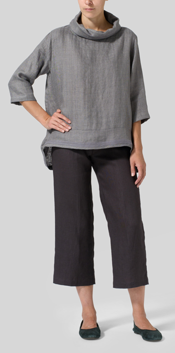 Kendall Charcoal Linen Cowl Neck Top