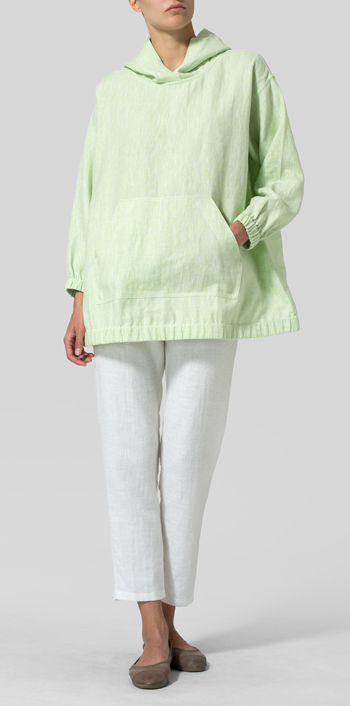 Two Tone Light Green Linen Oversized Hoodie Top