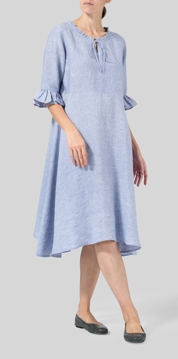 Two Tone Blue White Linen Ruffle Sleeves Long Dress