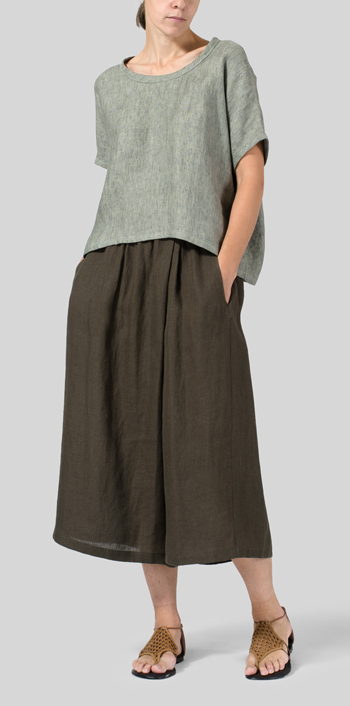 Dull Green Linen Collarless Round Neck Top