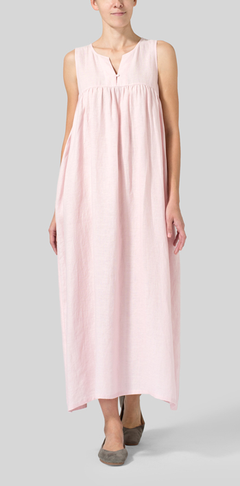 Baby Pink Linen Sleeveless Pleated Maxi Dress