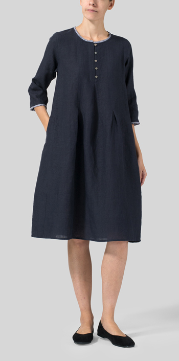Navy Linen Embroidered Hemline Dress