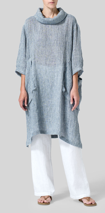 Dark Sky Blue Gauze Linen Cowl Neck Oversized Tunic