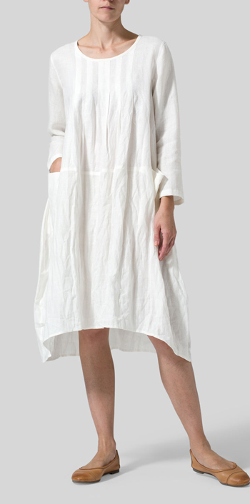 Off White Linen High-Low Babydoll Dress