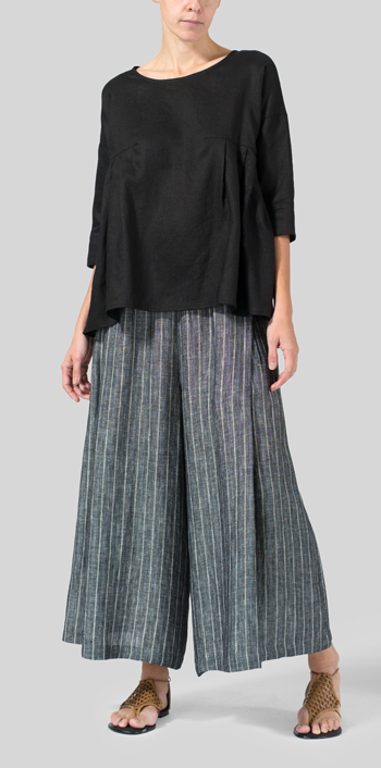 Black Linen Dropped Shoulder Pleated Box Top