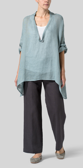Green Gray Linen Delicate Deep V-neck Overtop