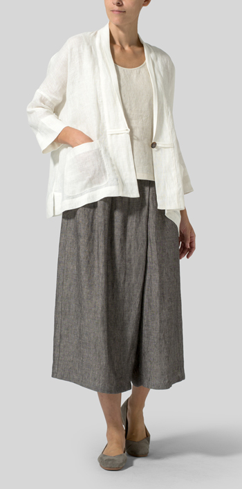 Cream White Lightweight Linen Kimono Jacket Set