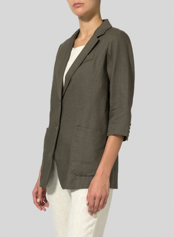Dark Taupe Linen Single Breasted Jacket