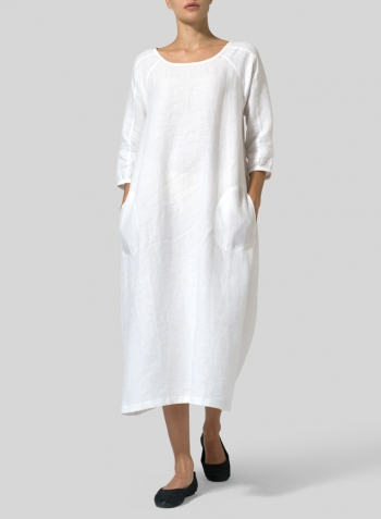 White Linen Elbow Sleeve Long Dress