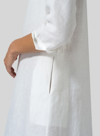 db5f6b3296 White Linen V-neck Mandarin Collar Dress Tunic