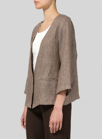 Brown Twill Weave Linen Boxy Fit Jacket