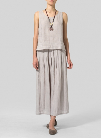 Sand Beige Linen Scoop Neck Tank