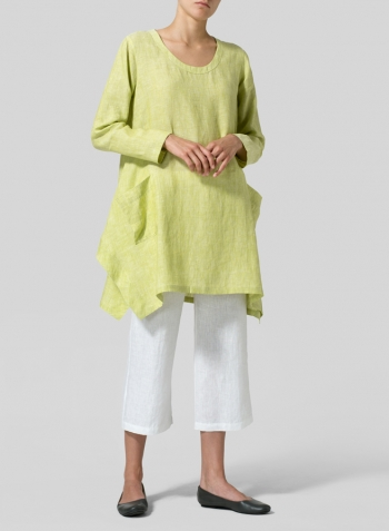 Lime Linen Long Sleeve Top Set