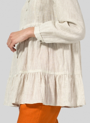 Oat Linen Tiered Pullover Top