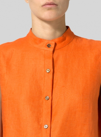Orange Jacquard Linen Mandarin Collar Vest