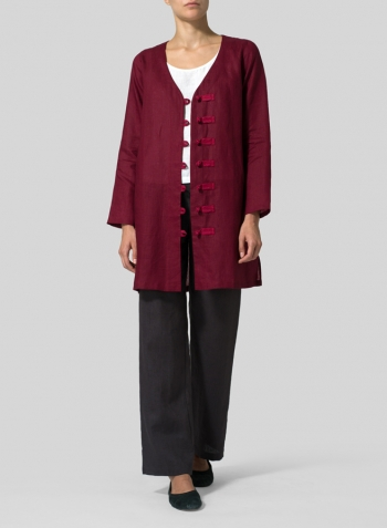 Burgundy/Red Two Tone Linen Handmade Knot Buttons Top