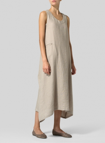 Khaki Gray Linen Sleeveless Long Dress