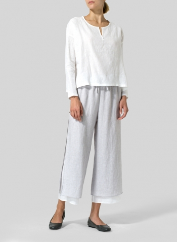 White Linen V-neck Boxy Top Set