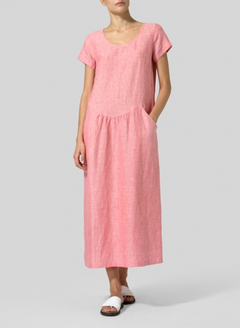Sakura Pink Linen Short Sleeve Midi Dress