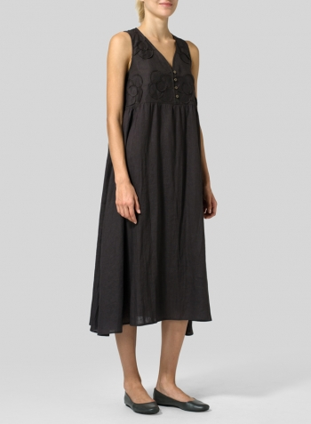 Dark Charcoal Linen Sleeveless A-line Dress