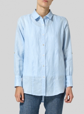 Light Blue Linen Long Sleeve Uneven Hem Shirt