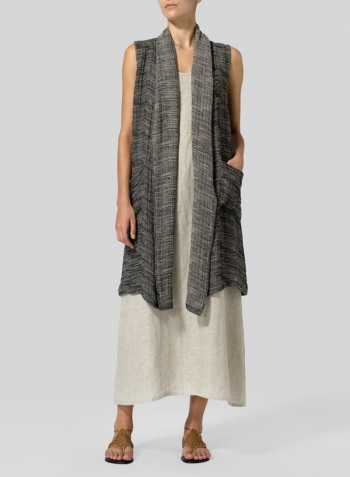 Linen Blend Stripe Hi-Lo Hem Vest With Dress