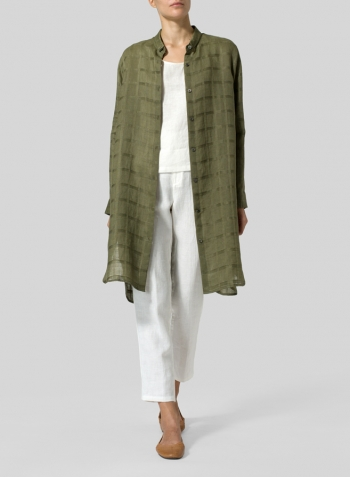 Olive Green Plaid Linen Stand Collar Long Shirt