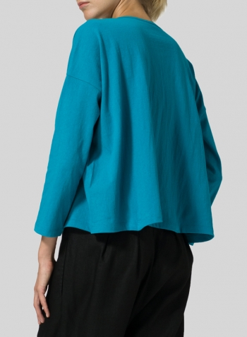 Dark Turquoise Medium Weight Cotton V-neck Boxy Top