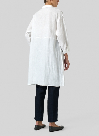 White Linen Half-Sleeve Long Shirt