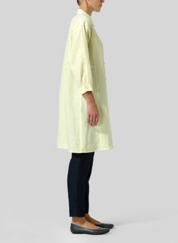 Lime Yellow Linen Half-Sleeve Long Shirt