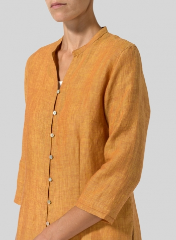 Golden Brown Linen V-neck Stand Collar Long Blouse