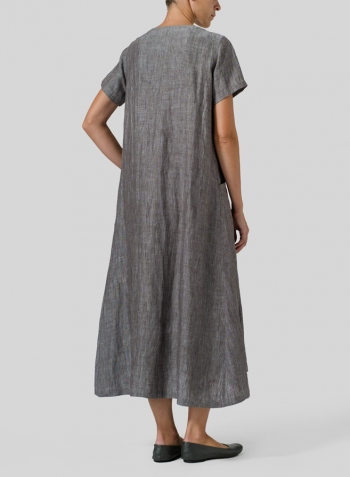 Two Tone Brown Linen Slip On A-line Dress