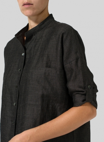 Dark Charcoal Linen Mandarin Collar Blouse