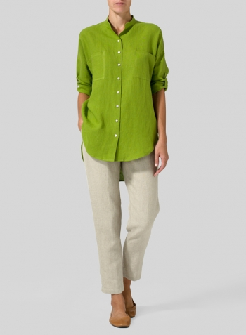 Green Leaf Linen Mandarin Collar Blouse