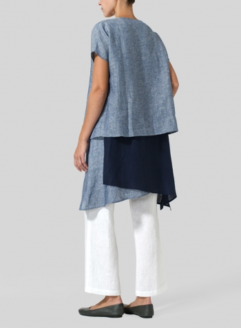 Two Tone Blue White Navy Linen Layered Top
