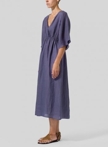 Dark Slate Purple Linen V-Neck Dolman Sleeves Dress