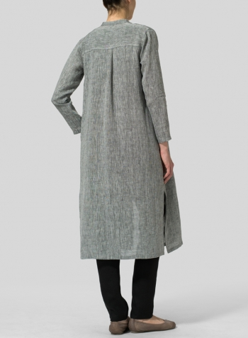 Two Tone Black Linen Long Slim Shirt Dress