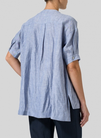 Light Denim Linen Pintucked Short Sleeves Blouse