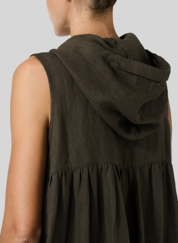 Dark Olive Brown Linen Sleeveless Hoodie Long Tunic