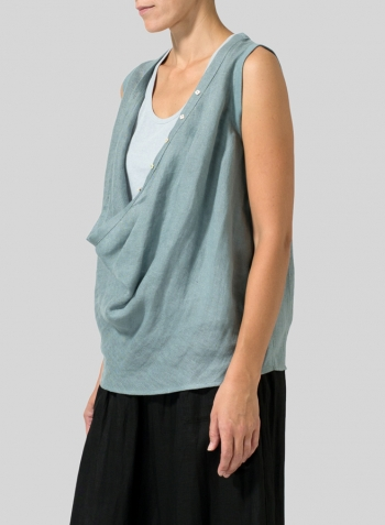 Green Gray Linen Deep Cowl Neck Top