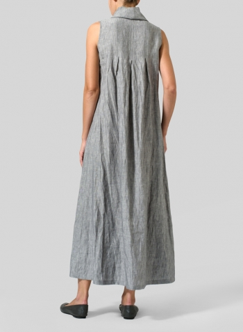 Gray Linen Funnel Neck Long Dress