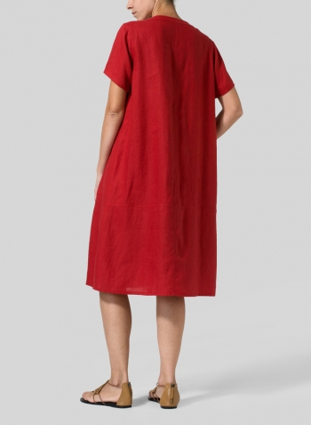 530ab7a1f83 Red Heavy Linen Short-Sleeve Heart-Neck Dress - Plus Size