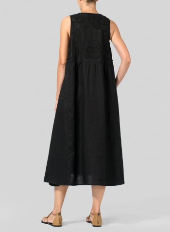 Black Linen Sleeveless A-line Dress