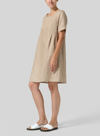 Two Tone Beige Linen Boat Neck Short Sleeve Dress
